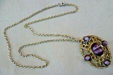 Marbled Purple Stone Pendant Necklace Vintage Costume Jewellery - 5x4cm Goldtone