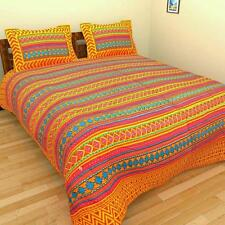 Indian Rajasthani Handmade New Multi Cotton Bed Sheet Two Pillow Covers Set