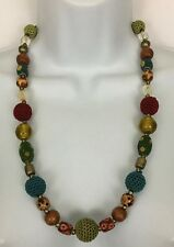 Vintage Style Multi-Color Crochet Wooden Beaded Boho Hippie Necklace