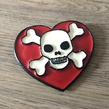 Poison/ Death Love Heart Metal Belt Buckle- Mobtown- Good Condition- Great Price