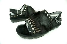 UGG BIKER CHIC FASHON BABY SHEEPSKIN LEATHER FEATHER SANDALS SIZE 8 US WOMENS