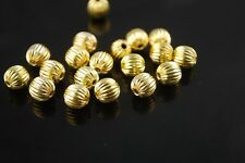 20pcs 8mm Round Wrinkle Alloy Metal Loose Spacer Beads Jewelry Findings Gold