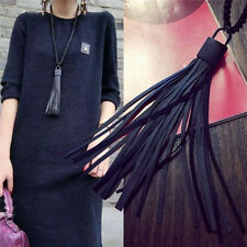 New Black Lock Leather Tassel Chunky Chain Pendant Bib Sweater Blouse Necklace