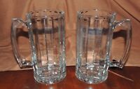 Set of 2 Vintage Heavy Ribbed Beer Mugs Steins Glasses Thumb Rest 7-1/4 Inches