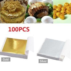 100X Silver Gold Foil Leaf Paper Food Cakes Decor Edible Gilding DIY Craft