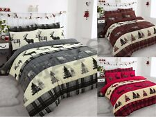 XMAS Stag Tartan Thermal Flannel Duvet Cover Set Brushed Cotton All British Size