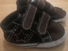 Converse One Star Shoes Size 2 Baby Black/Brown Crib Shoe Soft Bottoms CUTE!