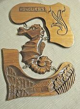 Honduras Handcarved Wooden 3 Section Wall Hanging / Key Rack w/ Sea Horse