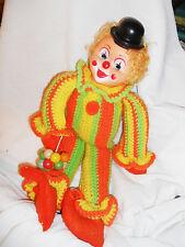 """Hand Made 21"""" clown soft body Crochet Clown Jumsuit Floppy Legs Arms Cute"""
