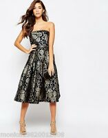 CHI CHI LONDON JACQUARD BANDEAU PROM PARTY MIDI DRESS SIZE UK 8_10_12_14