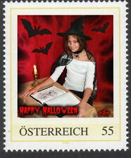 U) Personalized stamp halloween witch bat book candle girl AUSTRIA 2010