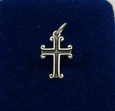 Sterling Silver Small 17x12mm Solid Fancy Cross Charm