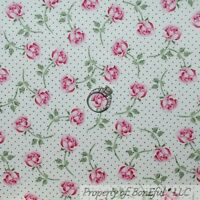 BonEful Fabric FQ Cotton Quilt White Pink Flower Rose Green Leaf Shabby Chic Dot