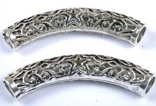 Wholesale 10pcs Tibetan Silver Long Tube Bending Charms Spacer Beads 50MM SH1832