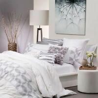 New Logan & Mason Balmain White Embroidered Queen Size Quilt Doona Cover Set