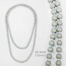 "60"" Long 10mm Light Gray Wooden Beaded Wrap Around Necklace"