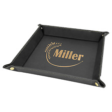 Personalized Laserable Leatherette Snap Up Tray with Gold Snaps, Black/Gold