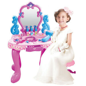 GIRL PINK VANITY TABLE CHILDRENS KIDS DRESSING MIRROR MAKE UP DESK TOY PLAY SET