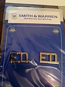 "Fire Department ""F.D."" Collar Brass by Smith & Warren in Silvertone/FREE S"