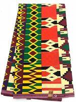 African KENTE Print /African Print Fabric; ORANGE, BURGUNDY, CREAM, 6 Yards