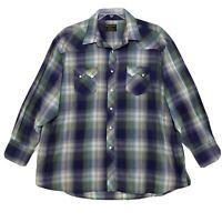Rustler by Wrangler Vtg Pearl Snap Western Shirt Mens 2XL XXL Green Blue Plaid