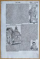Original Inkunabel-Sheet schedel Medal Benedictine Scholastika 1493