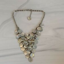 Mother Of Pearl Shell Bib Necklace Triangle Silver Tone Statement
