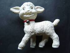 """White Lamb Plastic Squeak Squeeze Toy Red Collar and Bell 6 1/2"""" Tall x 6"""" Wide"""