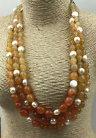 Vintage Style Necklace Red Agate & Freshwater Pearl Gorgeous Multi Strand Choker