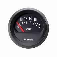 Sunpro 2 Electrical Voltmeter Gauge Black Dial Style Line New Item