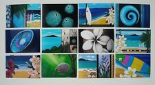 Beach Surf Flax Koru Kina NZ Maori-Home decor-12 Prints of my Original Paintings