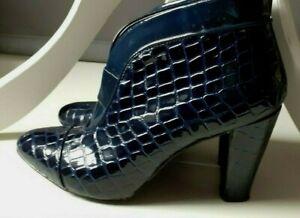 EU 37 TOM & EVA PARIS Navy Blue Leather Crocodile Effect Patent Ankle Boots UK 4