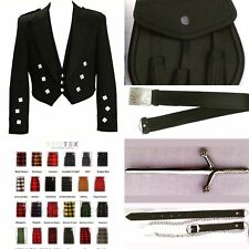 Prince Charlie Jacket Custom Made 8Yards Kilt Outfit Package 40 Tartans/ 9Pcs
