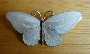 Marius Hammer Norway Sterling Silver Enamel Butterfly Brooch 55mm norwegian
