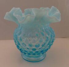 1 pre-logo Fenton aqua Blue Opalescent Hobnail 4 1/2  inch melon Vases