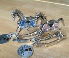 Blue/Pink Rocking Crystal Horse Christening Ornament Silver Plated Baby Girl/Boy