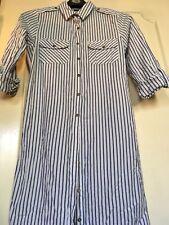 Ladies shirt dress Cotton Pinstripe Shirt Dress. White And Blue Size 8.