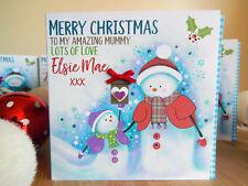 Mummy Christmas card Personalised snowmen cute Christmas card Mummy Mum