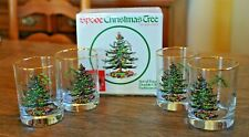 Spode Christmas Tree Four 4 Double Old Fashioned Glasses tumblers set