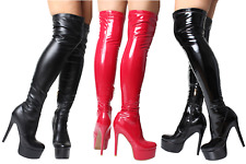 Ladies Black Red Patent Sexy Over Knee Thigh High Heel Platform Stretch Boots