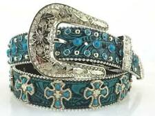 Ladies Western Black & Turquoise Embossed Leather Belt Cross Conchos Buckle
