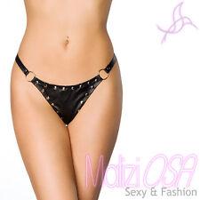 Perizoma Ecopelle Borchiette PVC Nero wetlook lingerie sexy fetish tanga vinile