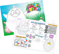 Pack of 12 - A4 Easter Party Placemat Tabletop Activity Sheets - Bag Fillers
