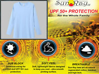 Royal Avalon Sun Ray Youth Sky Blue Long Sleeve Bamboo Tee UPF50+ Protection