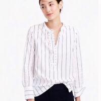 J. Crew Size 4 Women's Striped Ruffled Popover Shirt Blue White Vertical Stripes