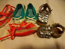 lot 3paires de chaussures ,bébé ou gros poupon 17-18cm