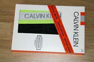 Calvin Klein Mens Neon Hazard Cotton Stretch Trunk  Black / Lime size Medium
