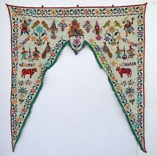 Vintage Door Valance Window Decor Wall Hanging Hand Embroidered 44 x 50 inch X15