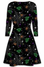 Womens Halloween Dress Trickortreat Spider Print Swing Ladies Casual Long Sleeve