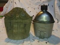VINTAGE WWII WW 2 US Military 1943 GP&F Canteen/Canvas Cover/1944 CUP US KM CO.